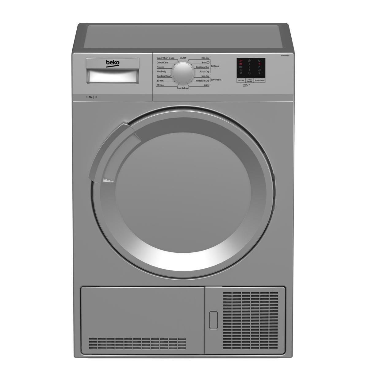 Beko DTLCE70051S 7kg Freestanding Condenser Tumble Dryer - Silver