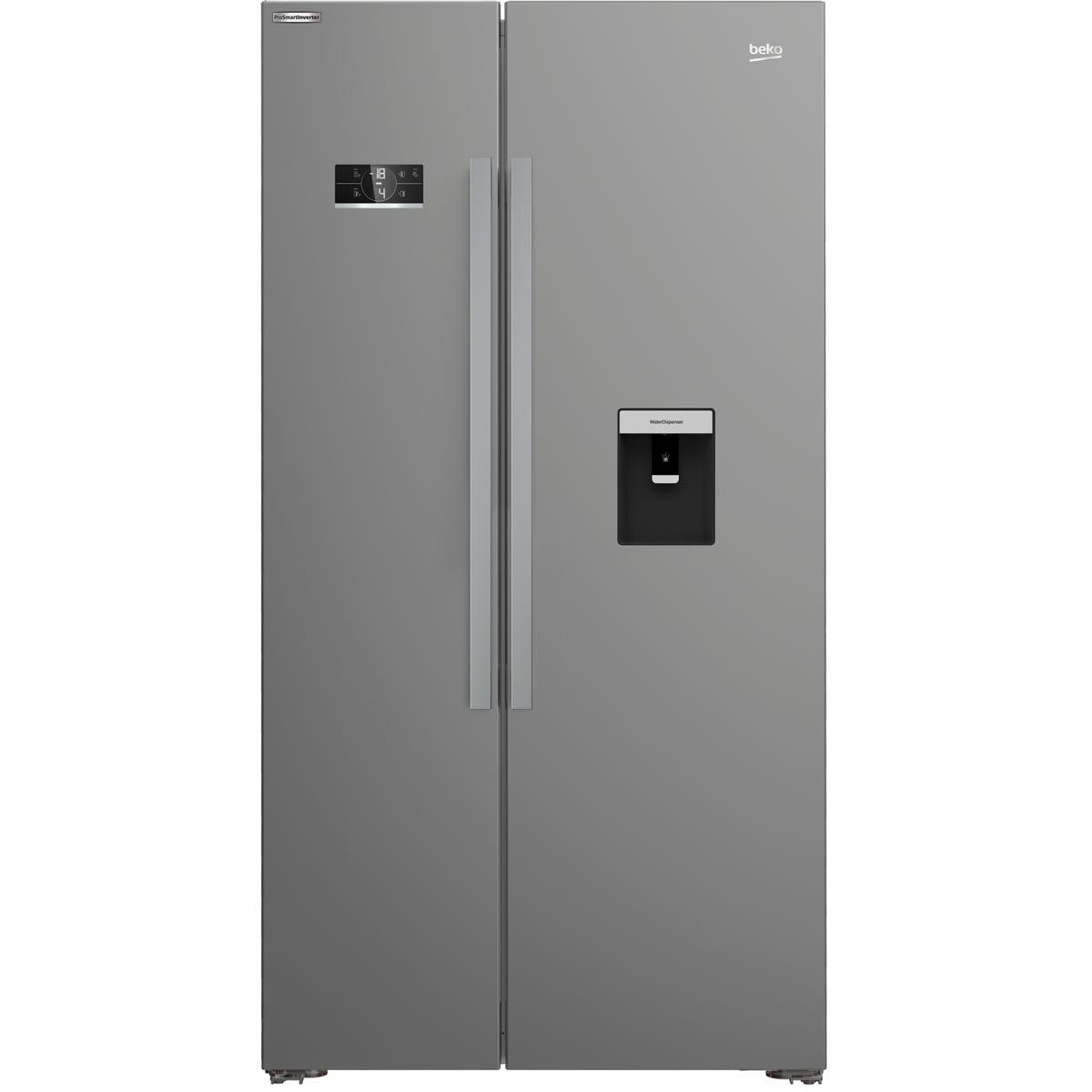 Beko ASD2341VX American Style Frost Free 368L/190L Fridge Freezer - Stainless Steel