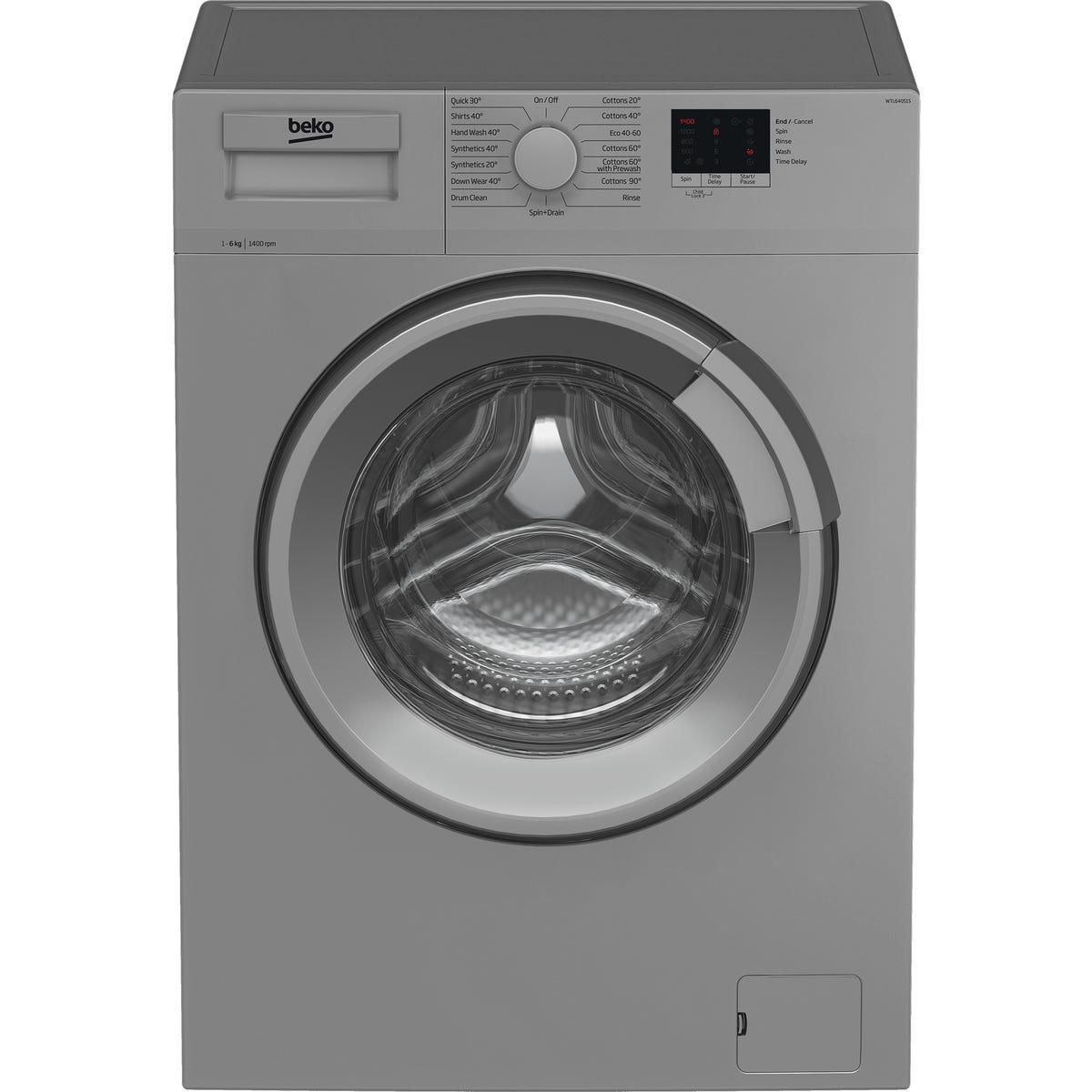 Beko WTL64051S 6kg 1400rpm Freestanding Washing Machine - Silver