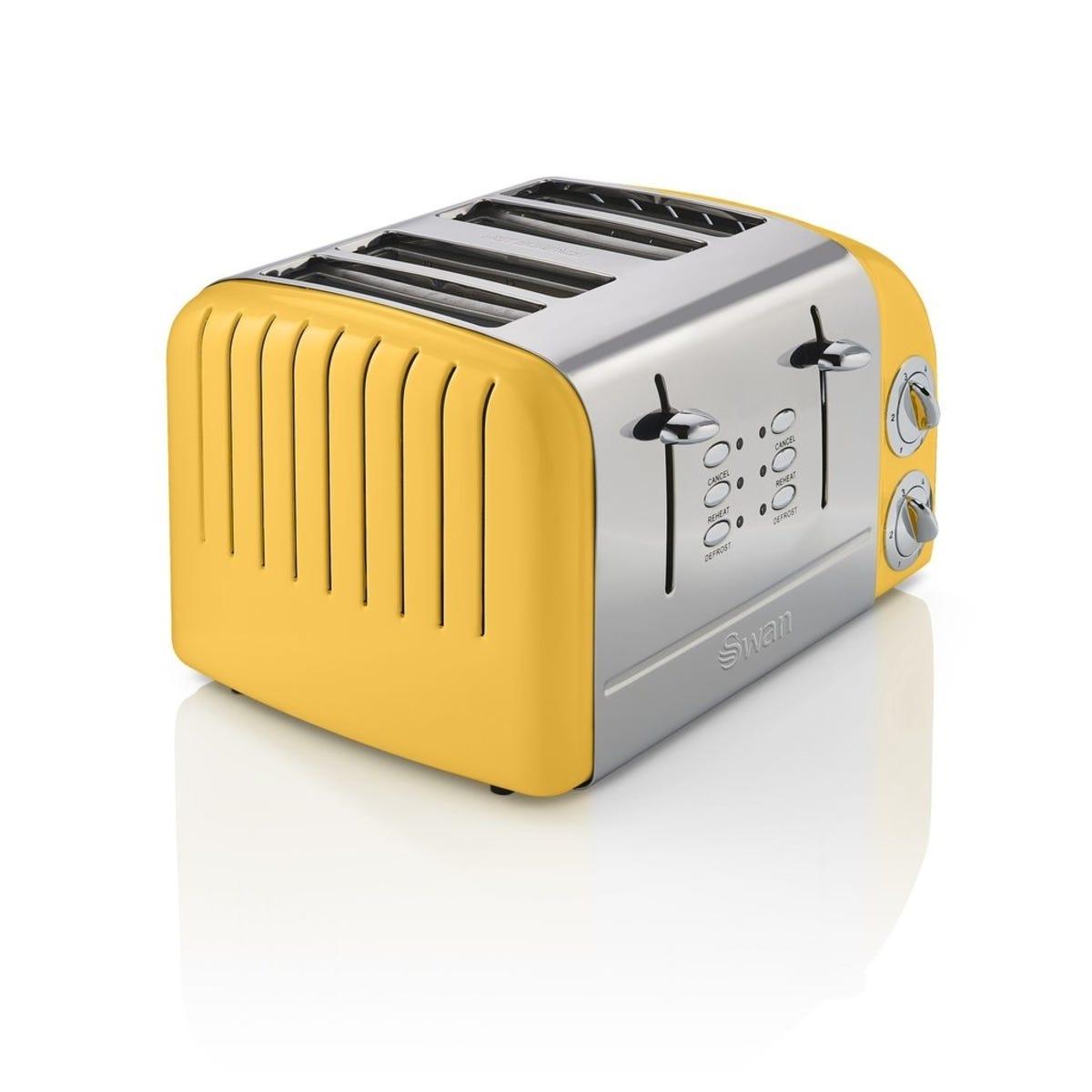 Swan ST34020YELN 4 Slice Retro Toaster - Yellow