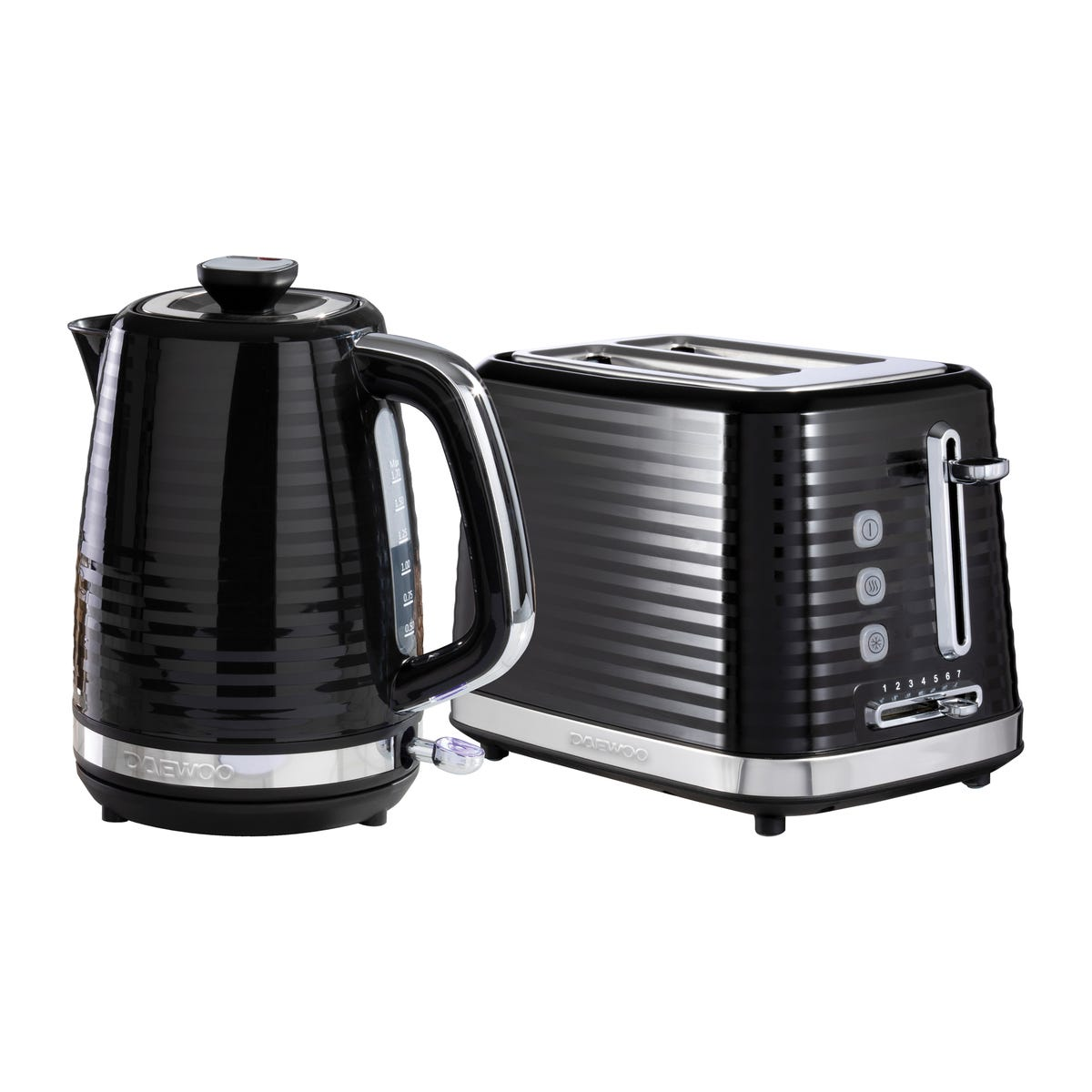 Daewoo SDA2368DS Hive 1.7L 3KW Textured Kettle and 2 Slice Toaster Set - Black