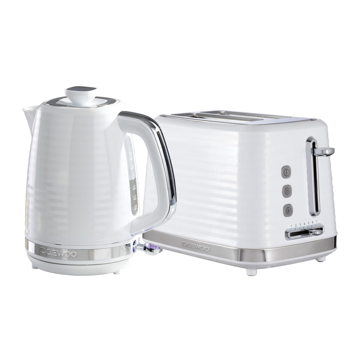 Daewoo SDA2369DS Hive 1.7L 3KW Textured Kettle and 2 Slice Toaster Set - White