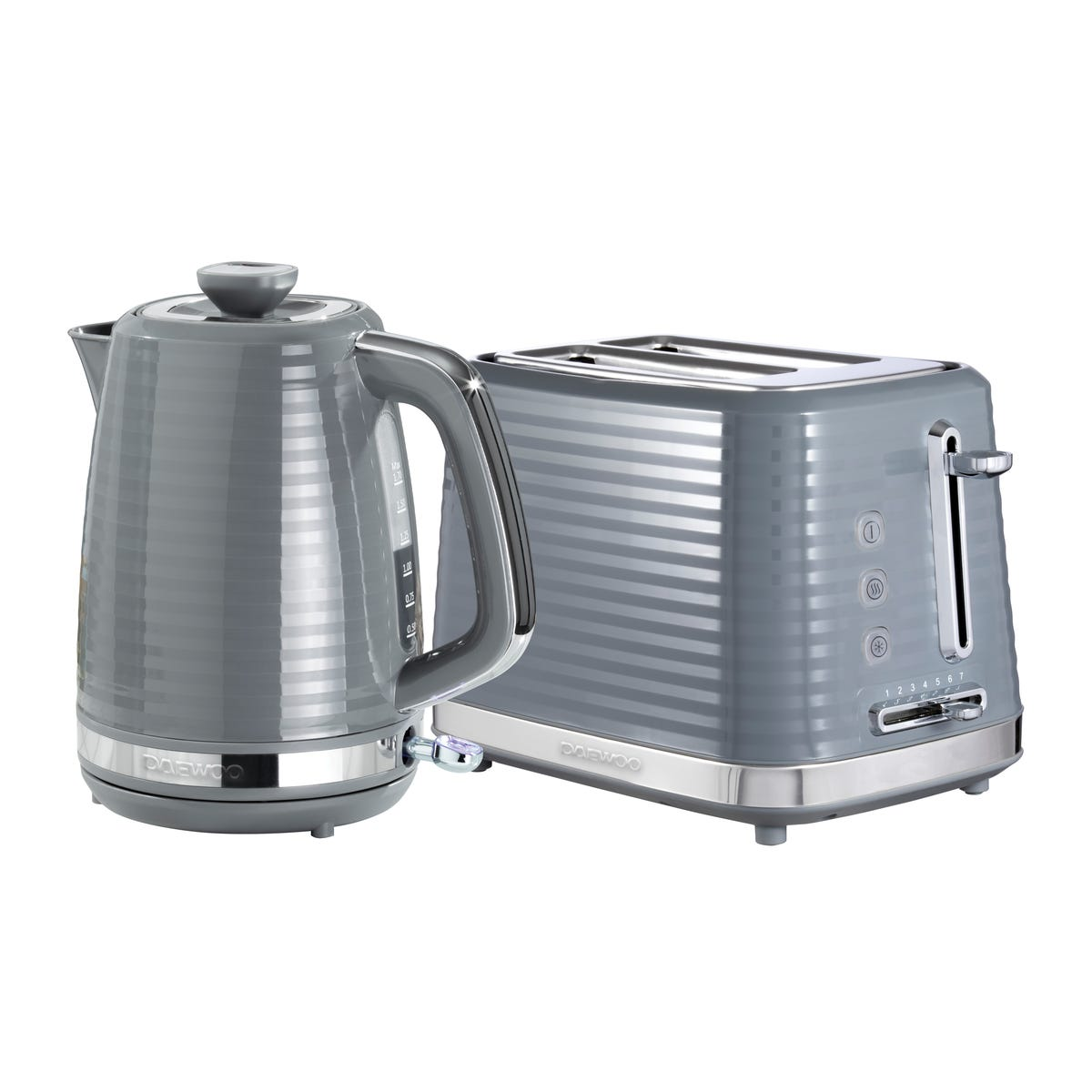 Daewoo SDA2371DS Hive 1.7L 3KW Textured Kettle and 2 Slice Toaster Set - Grey