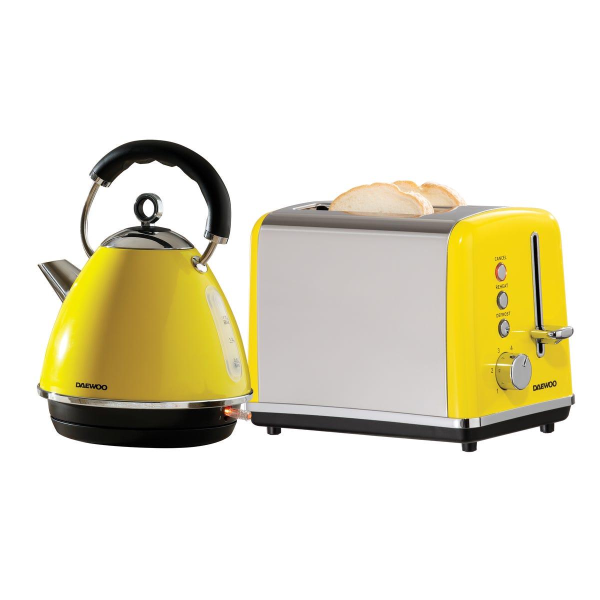 Daewoo SDA2372DS Soho 1.7L 3KW Pyramid Kettle and 2 Slice Toaster Set - Yellow