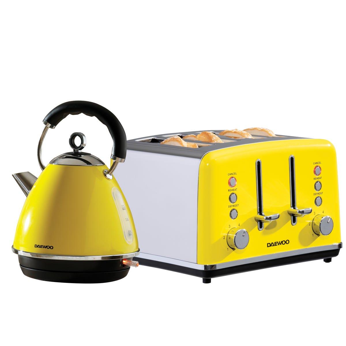 Daewoo SDA2374DS Soho 1.7L 3KW Pyramid Kettle and 4 Slice Toaster Set - Yellow