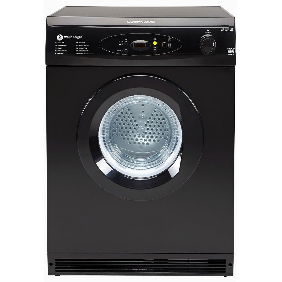 Compare prices for White Knight C86A7B 7kg Reverse Action Multifunction Vented Tumble Dryer - Black