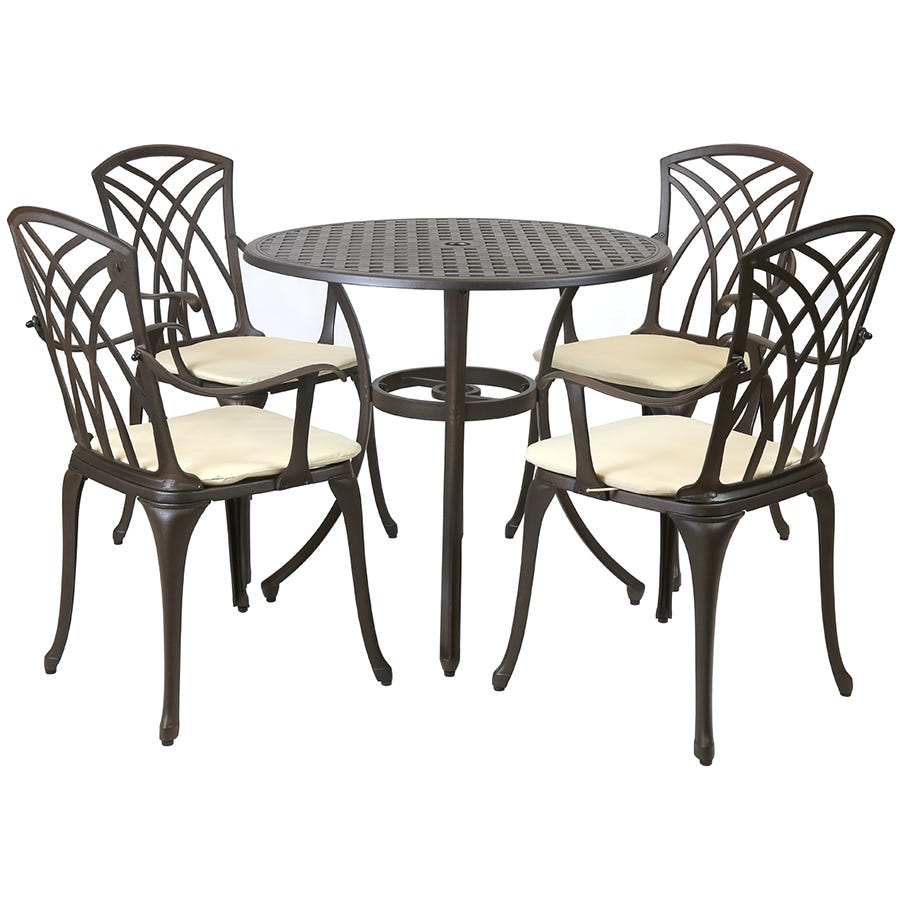 Compare cheap offers & prices of Charles Bentley 5-Piece Metal Stamford Patio Set With Cushions manufactured by Charles Bentley