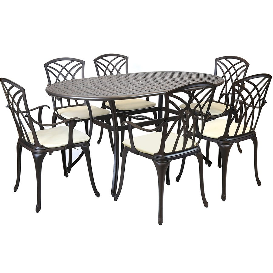 Compare cheap offers & prices of Charles Bentley Metal Cast Aluminium 7 Piece Stamford Garden Furniture Patio Set With Cushions manufactured by Charles Bentley