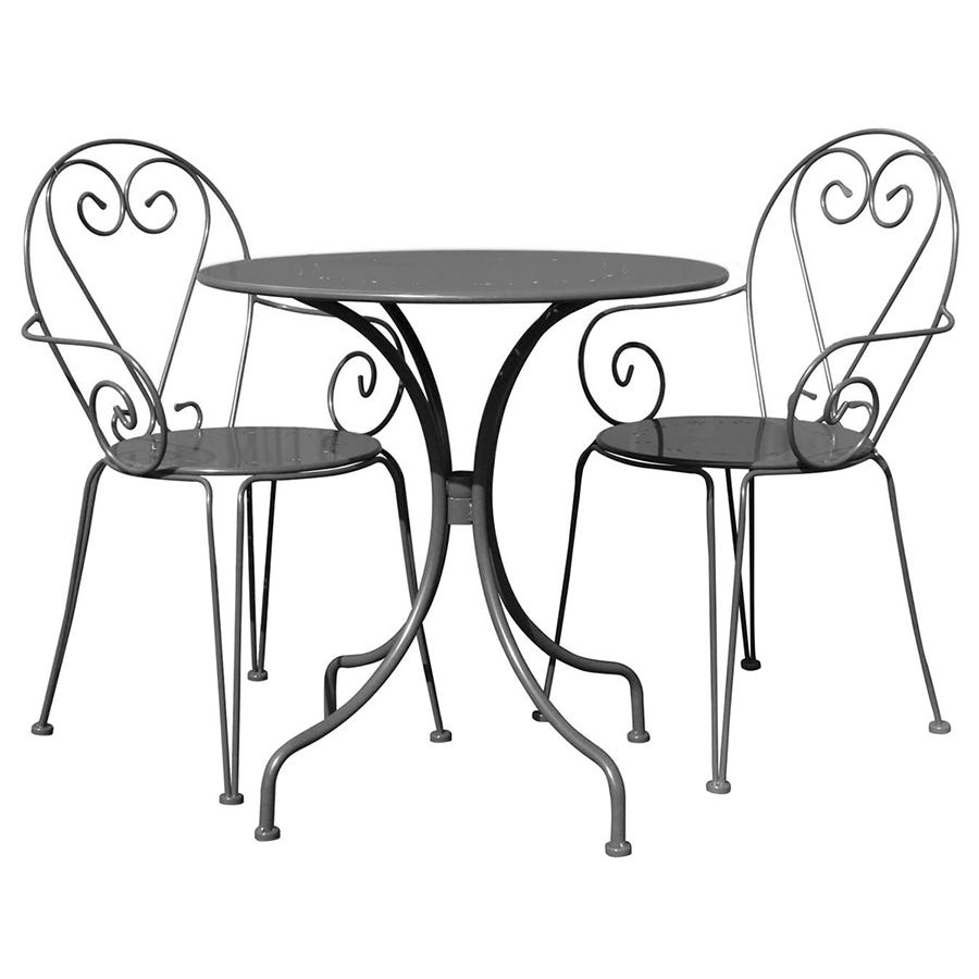 Image of Charles Bentley 3 Piece Shabby Chic Bistro Set - Grey