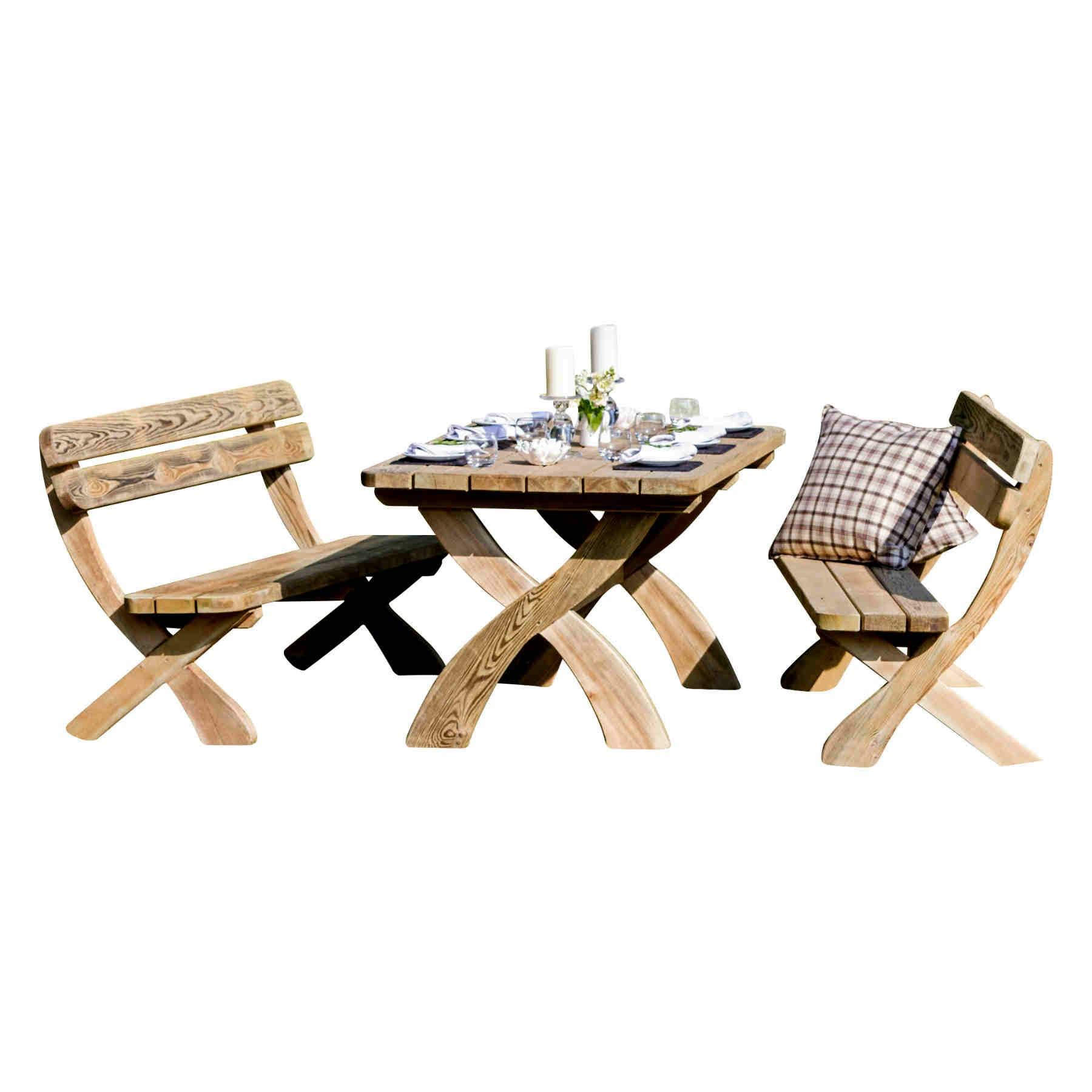 Zest4Leisure Harriet Wooden Garden Dining Table and Bench Set