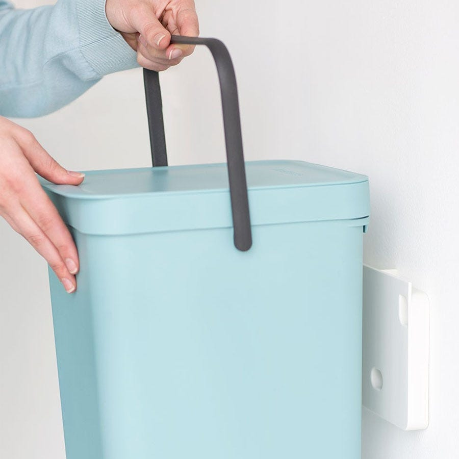 Space-saving Brabantia Sort & Go Bin attached to the wall