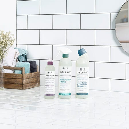 Delphis cleaning products are not only eco-friendly yet industrial strength, but are made from recycled plastic bottles sourced from UK shores