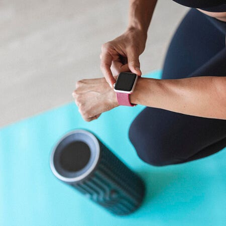 The Jaxjox Connect Foam Roller syncs up to your smartphone or watch