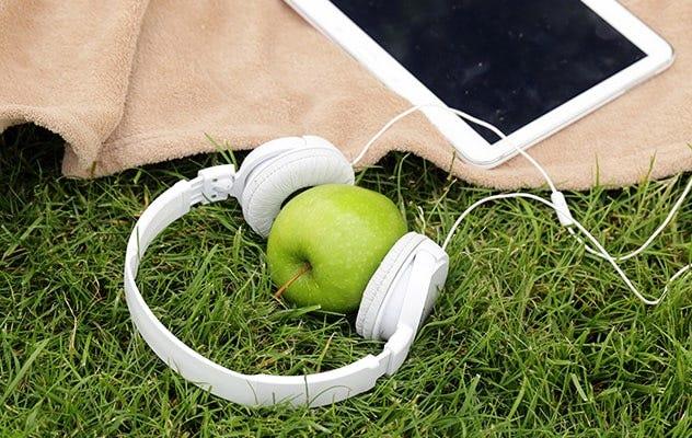 headphones music picnic