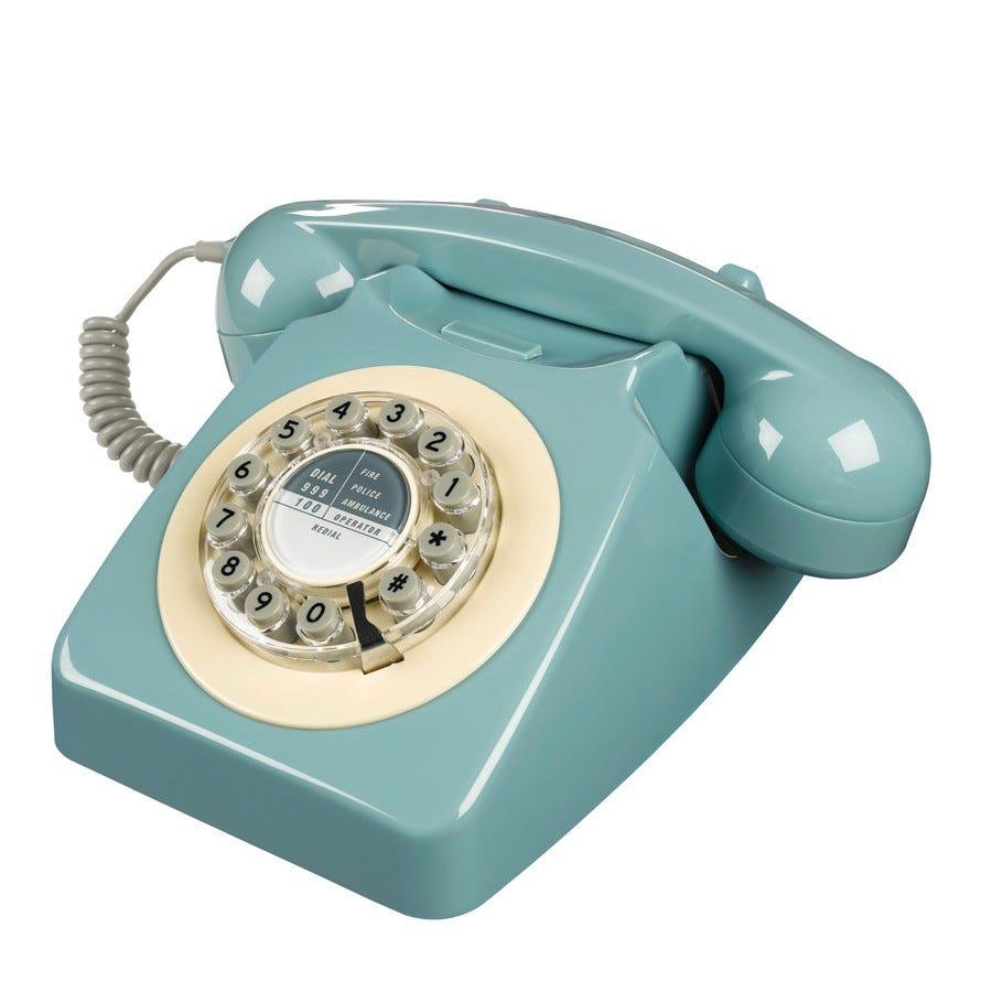 retro phones blue