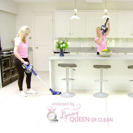 Lynsey Queen of Clean showcasing the Swan Eureka PowerPlush Turbo Cordless 3-in-1 Vacuum