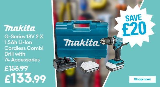Save £20 on Makita G-Series 18V 2 X 1.5Ah Li-Ion Cordless Combi Drill