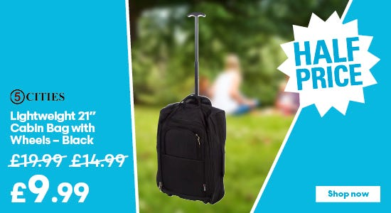 Get half price on your black lightweight cabin bag!