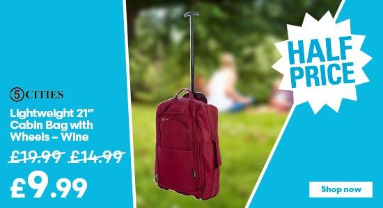 Get half price on your lightweight cabin bag - wine