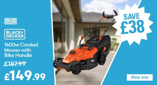 Save £38 on Black and Decker 1600w Corded Mower with Bike Handle