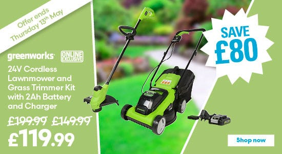 Save £80 on Greenworks 24v Cordless Lawnmower and Grass Trimmer Kit