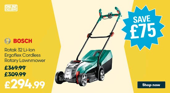 Save £75 on Bosch Rotak 32 Li-Ion Ergoflex Cordless Rotary Lawnmower