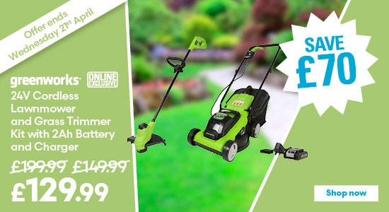 Save £70 on Greenworks 24v Cordless Lawnmower and Grass Trimmer Kit