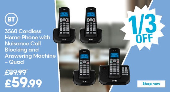 Save a third on BT 3560 Cordless Home Phone with Nuisance Call Blocking and Answering Machine - Quad