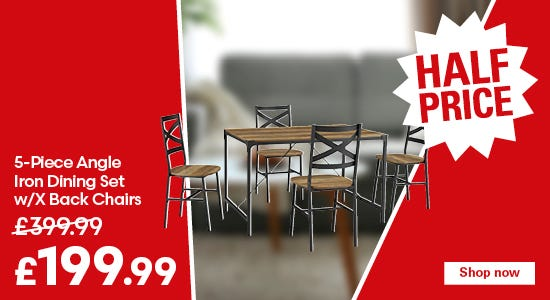 Save on the 5-Piece Angle Iron Dining Set w/X Back Chairs