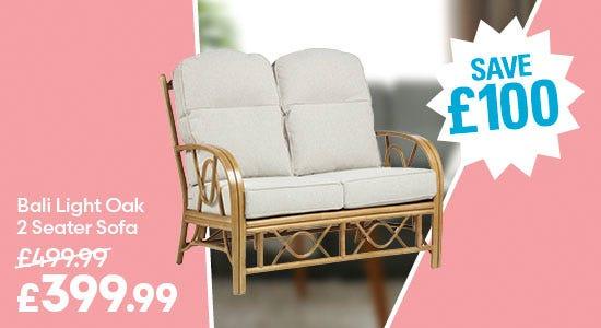 Save £100 on Bali Light Oak 2 Seater Sofa