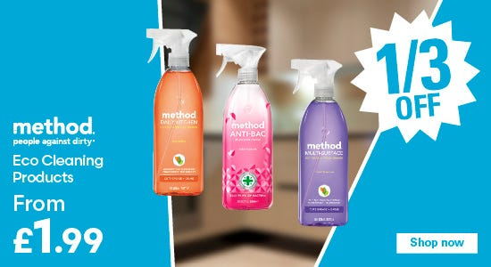 Save a third on method eco cleaning products