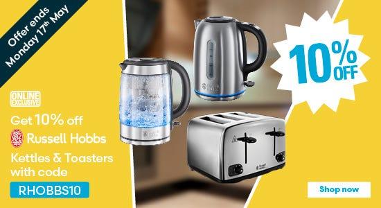 Get 10% off Russell Hobbs kettles & toasters