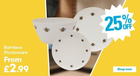 Save on bamboo bee picnicware