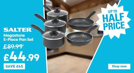 Save on the salter 5 piece megastone pan set