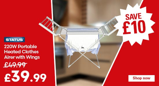 Save £10 on your status heated indoor airer