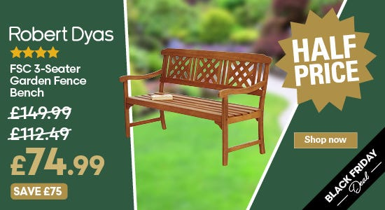Save half price on your fence bench