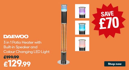 Save on Daewoo 3 in 1 Patio Heater with Built in Speaker