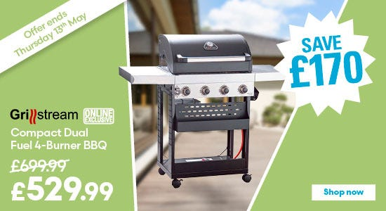Save £185 on Grillstream Compact Dual Fuel 4 Burner BBQ