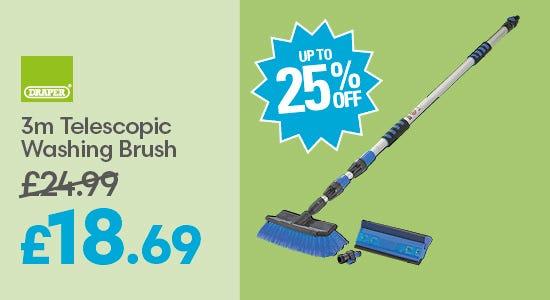 Save up to 25% on Draper 3m Telescopic Washing Brush