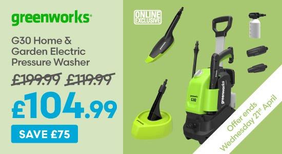 Save £75 on Greenworks G30 Home & Garden Electric Pressure Washer