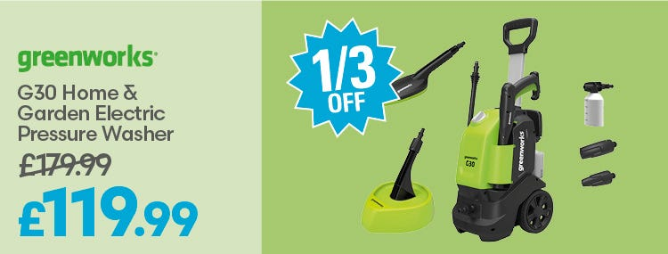 Save a third on Greenworks G30 Home & Garden Electric Pressure Washer