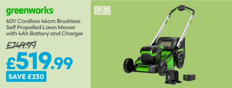 Save £230 on Greenworks 60v Cordless 46cm Brushless Self Propelled Lawn Mower
