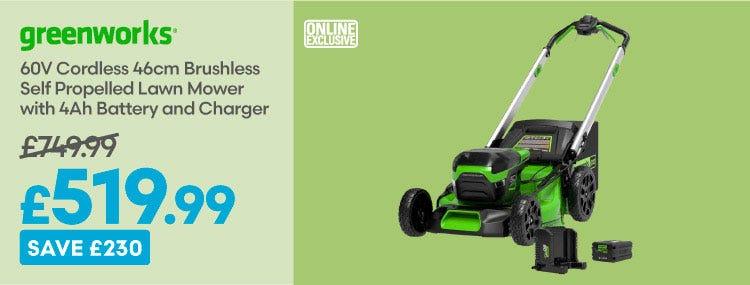Save £230 on Greenworks 60v Cordless 46cm Brushless Self Propelled Lawn Mower