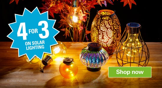 Get 4 for 3 on solar lights
