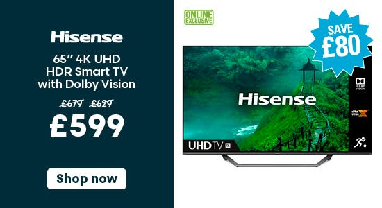 """Save £80 on the Hisense 65AE7400FTUK 65"""" 4K UHD HDR Smart TV with Dolby Vision"""