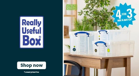 Get 4 for 3 on really useful storage boxes!