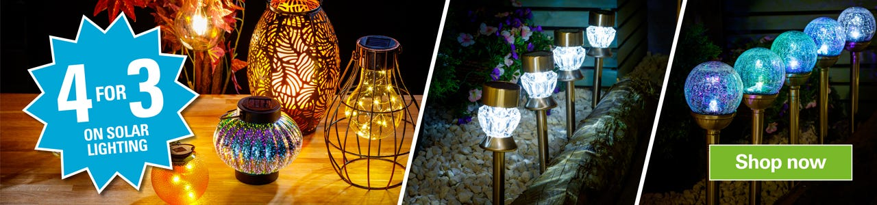 Get 4 for 3 Mix & Match on Solar Lights