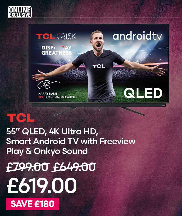 """TCL 55"""" QLED, 4K Ultra HD, Smart Android TV with Freeview Play & Onkyo Sound"""