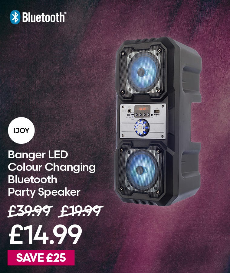 iJoy Banger LED Colour Changing Bluetooth Party Speaker