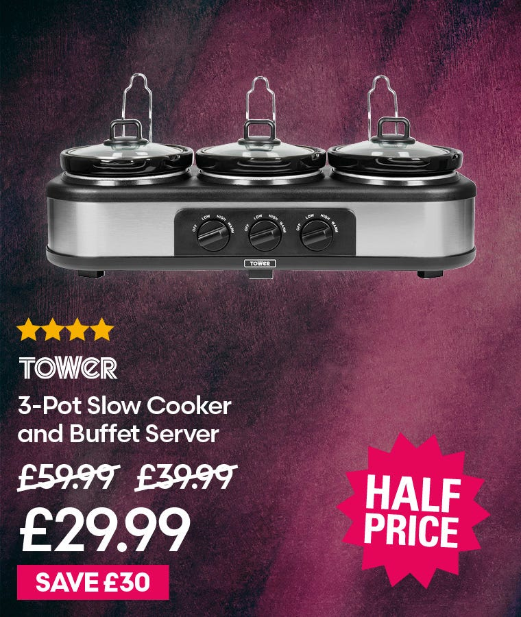 Tower 3-Pot Slow Cooker and Buffet Server